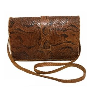 Vintage Snakeskin Tooled Braided Leather Handbag